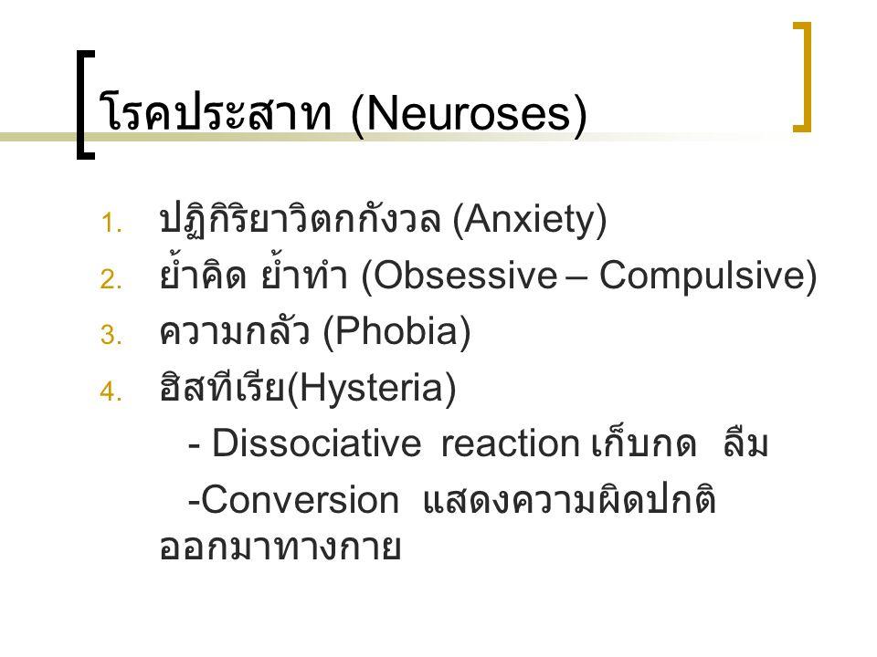 โรคประสาท (Neuroses) ปฏิกิริยาวิตกกังวล (Anxiety)