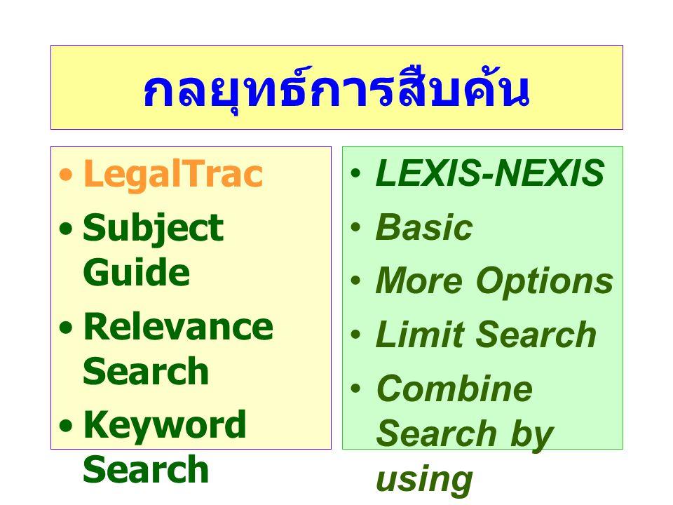 กลยุทธ์การสืบค้น LegalTrac Subject Guide Relevance Search