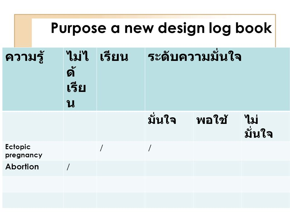 Purpose a new design log book