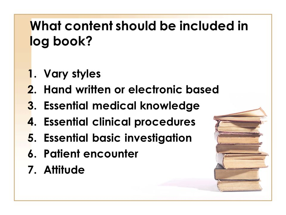 What content should be included in log book