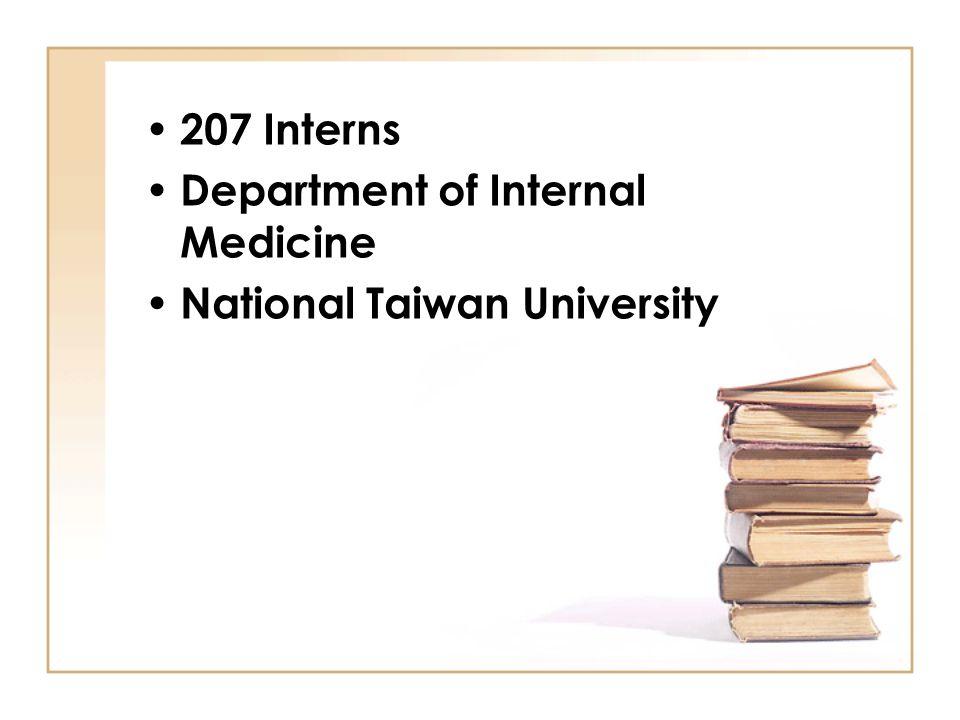 207 Interns Department of Internal Medicine National Taiwan University