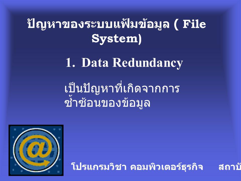 ปัญหาของระบบแฟ้มข้อมูล ( File System)