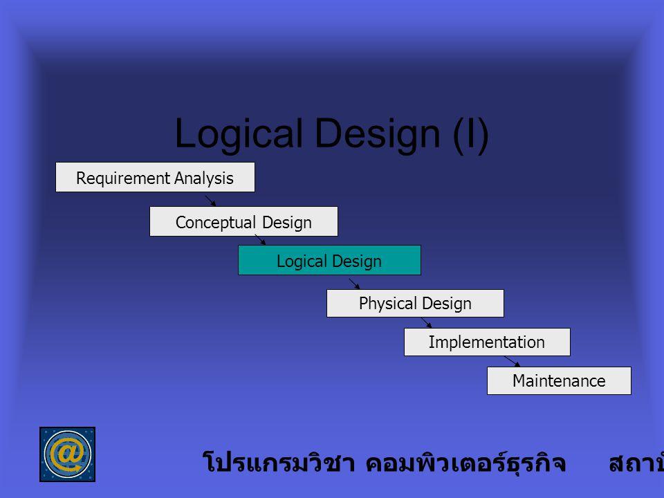 Logical Design (I) โปรแกรมวิชา คอมพิวเตอร์ธุรกิจ สถาบันราชภัฏลำปาง
