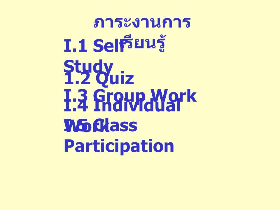 ภาระงานการเรียนรู้ I.1 Self Study. 1.2 Quiz. I.3 Group Work.