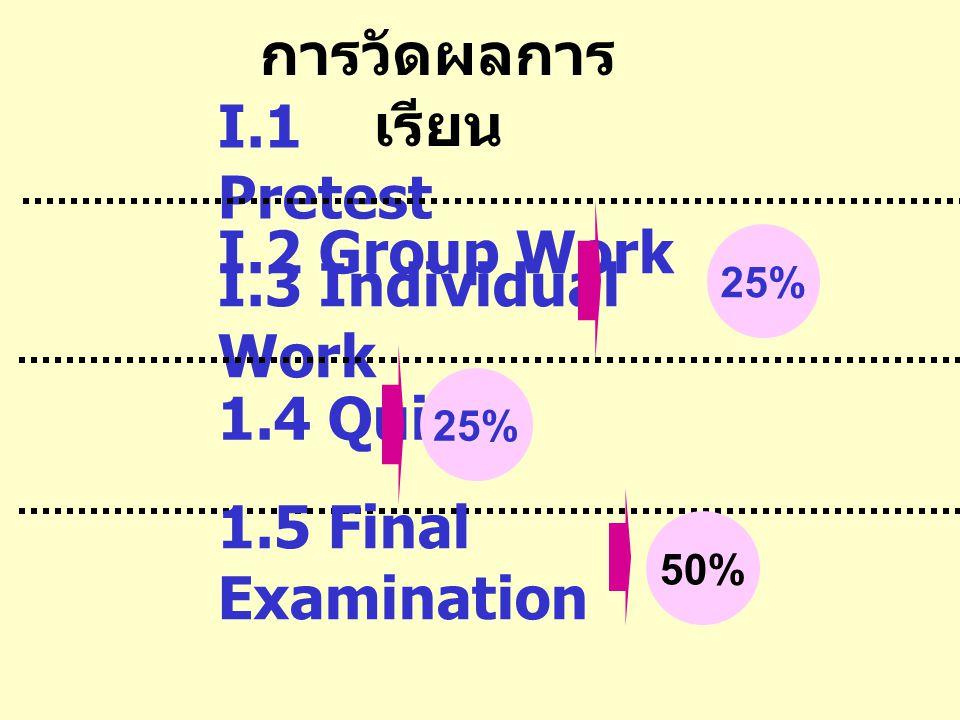 การวัดผลการเรียน I.1 Pretest I.2 Group Work I.3 Individual Work