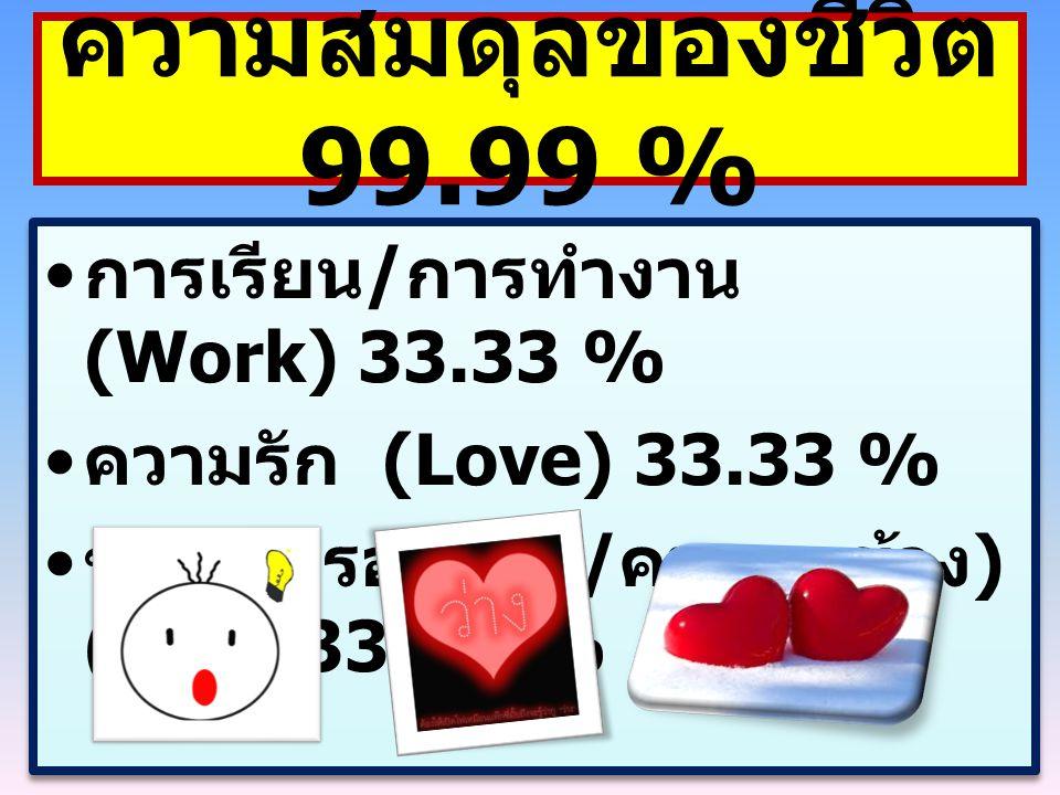 ความสมดุลของชีวิต 99.99 % การเรียน/การทำงาน (Work) 33.33 %