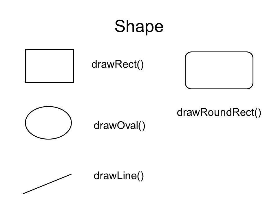 Shape drawRect() drawRoundRect() drawOval() drawLine()