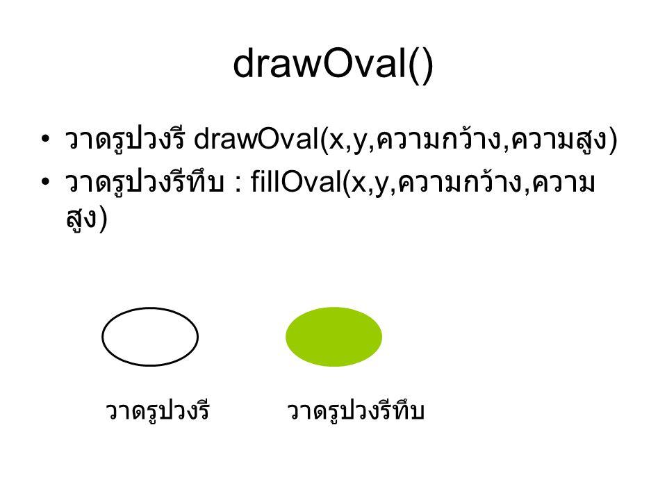 drawOval() วาดรูปวงรี drawOval(x,y,ความกว้าง,ความสูง)