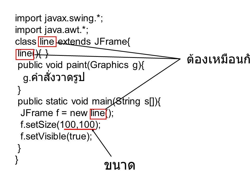 ขนาด ต้องเหมือนกัน import javax.swing.*; import java.awt.*;