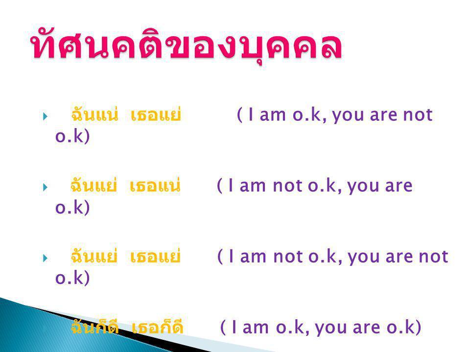 ทัศนคติของบุคคล ฉันแน่ เธอแย่ ( I am o.k, you are not o.k)