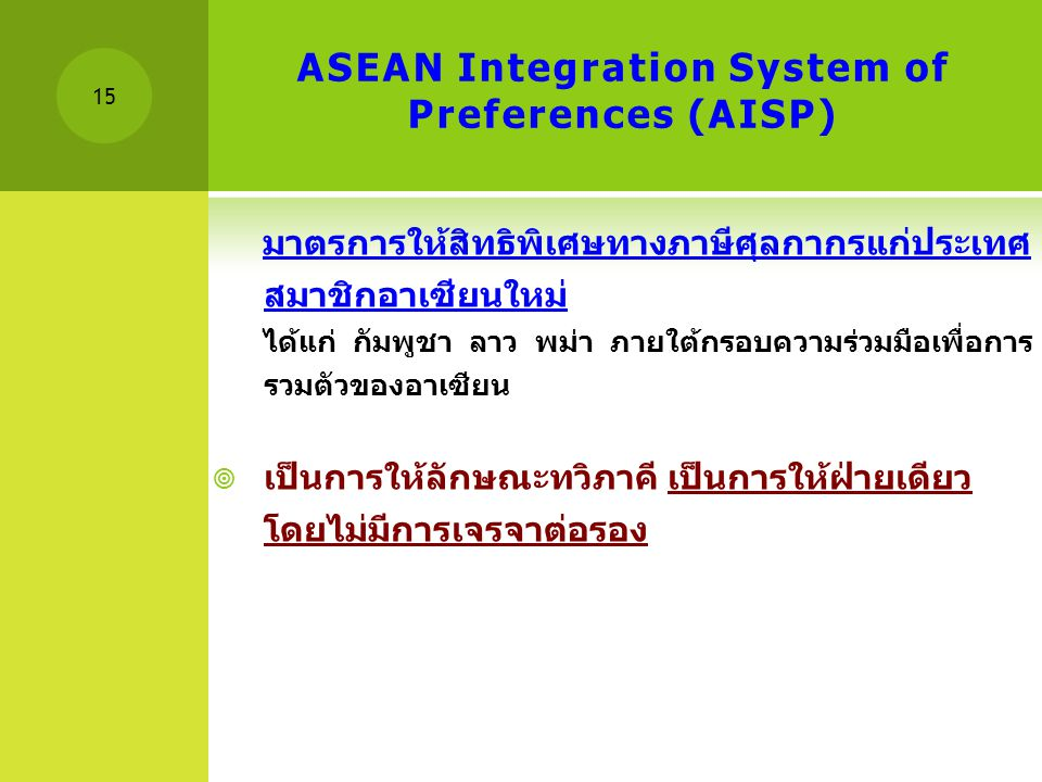 ASEAN Integration System of Preferences (AISP)