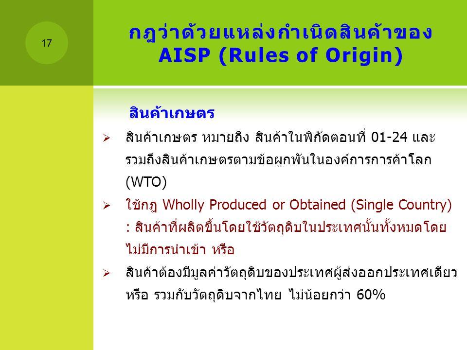 กฎว่าด้วยแหล่งกำเนิดสินค้าของ AISP (Rules of Origin)