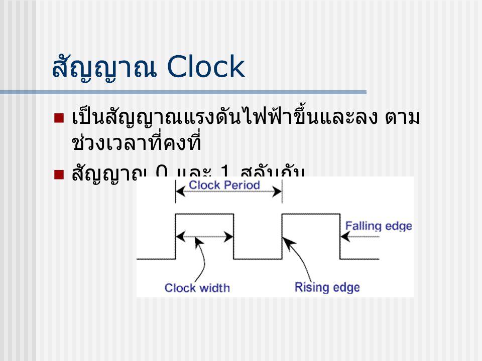 สัญญาณ Clock เป็นสัญญาณแรงดันไฟฟ้าขึ้นและลง ตามช่วงเวลาที่คงที่
