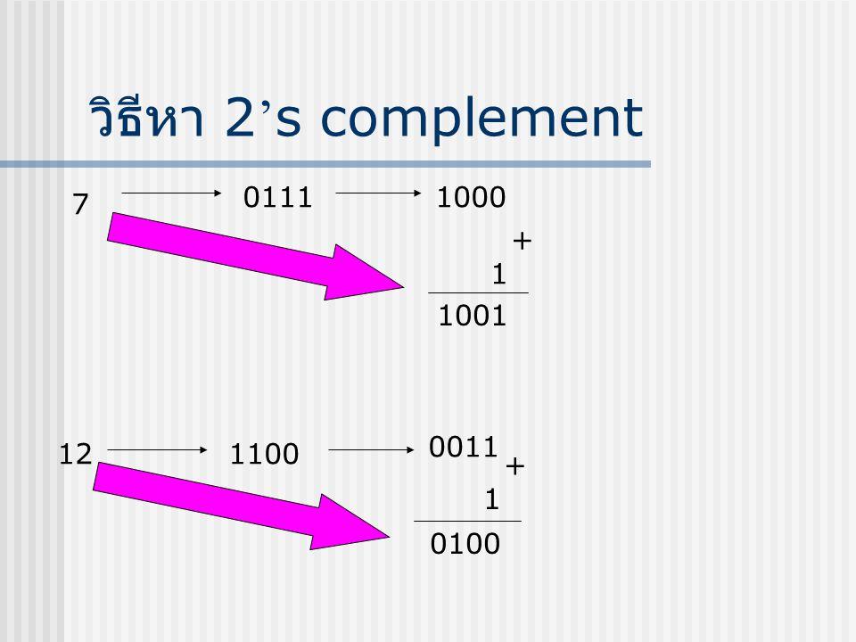 วิธีหา 2's complement 0111 1000 7 + 1 1001 0011 12 1100 + 1 0100