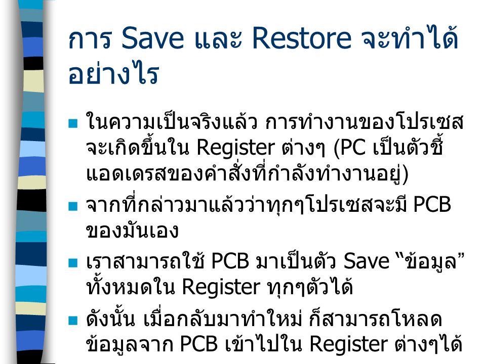 การ Save และ Restore จะทำได้อย่างไร