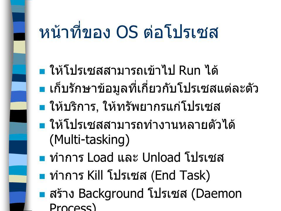 หน้าที่ของ OS ต่อโปรเซส