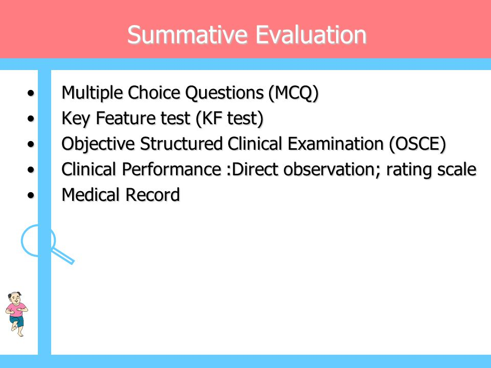Summative Evaluation Multiple Choice Questions (MCQ)
