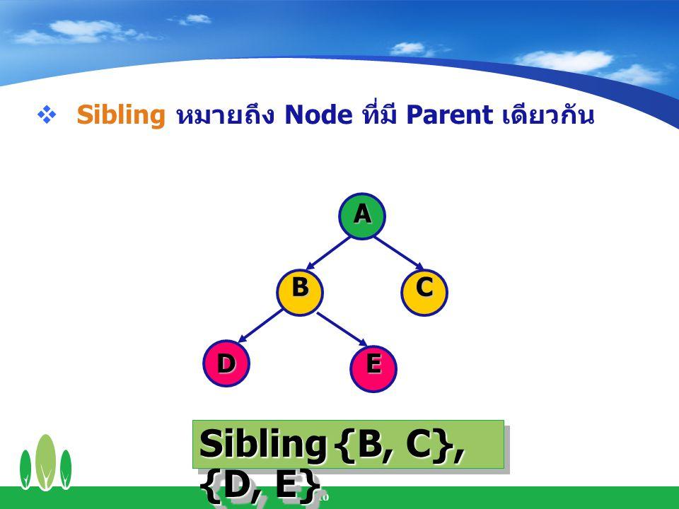 Sibling {B, C}, {D, E} Sibling หมายถึง Node ที่มี Parent เดียวกัน A B