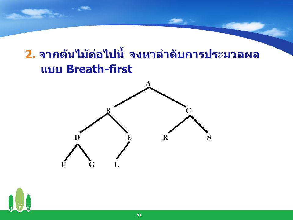 2. จากต้นไม้ต่อไปนี้ จงหาลำดับการประมวลผลแบบ Breath-first