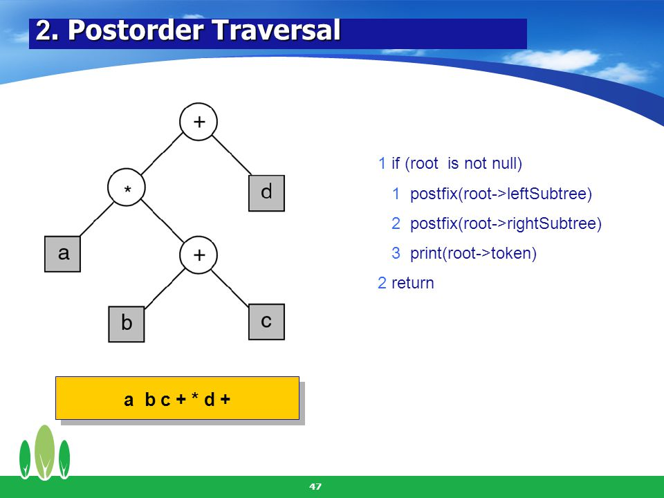 2. Postorder Traversal a b c + * d + 1 if (root is not null)
