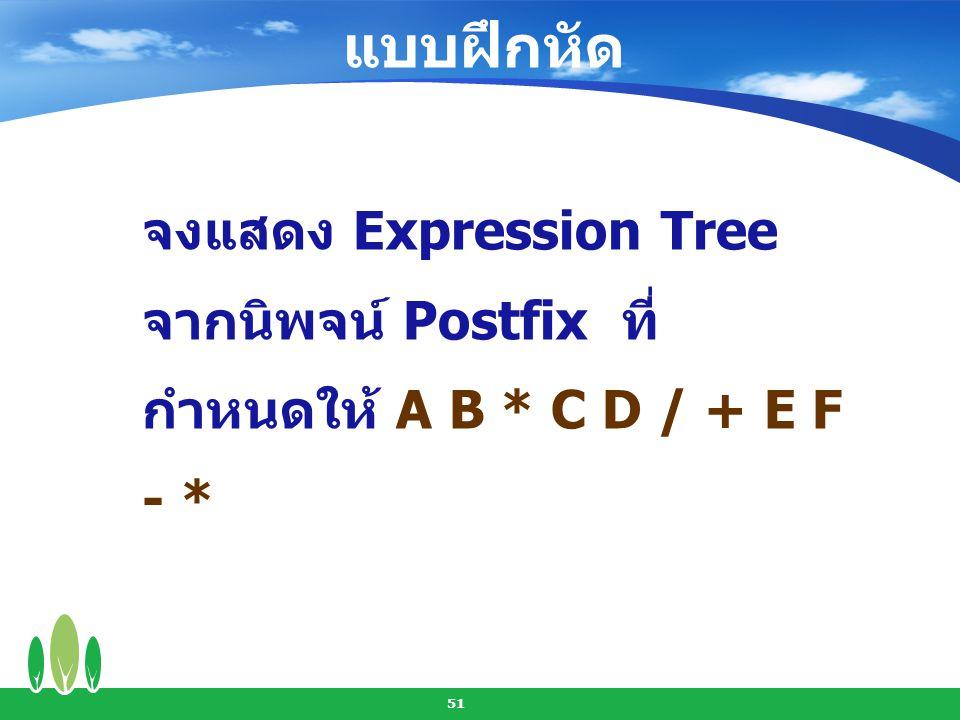 แบบฝึกหัด จงแสดง Expression Tree จากนิพจน์ Postfix ที่กำหนดให้ A B * C D / + E F - *