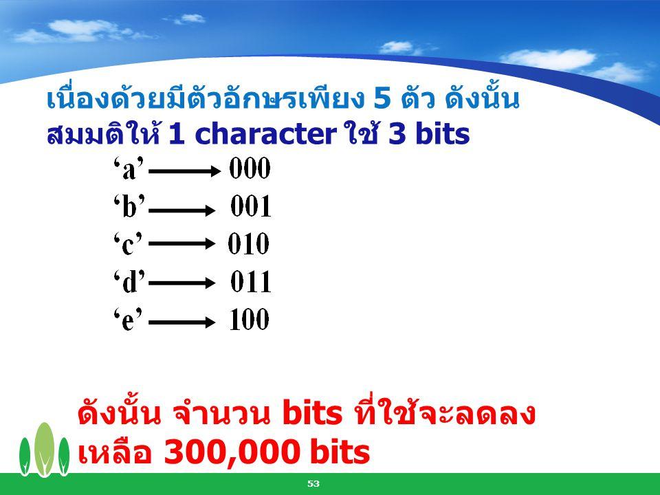 ดังนั้น จำนวน bits ที่ใช้จะลดลงเหลือ 300,000 bits