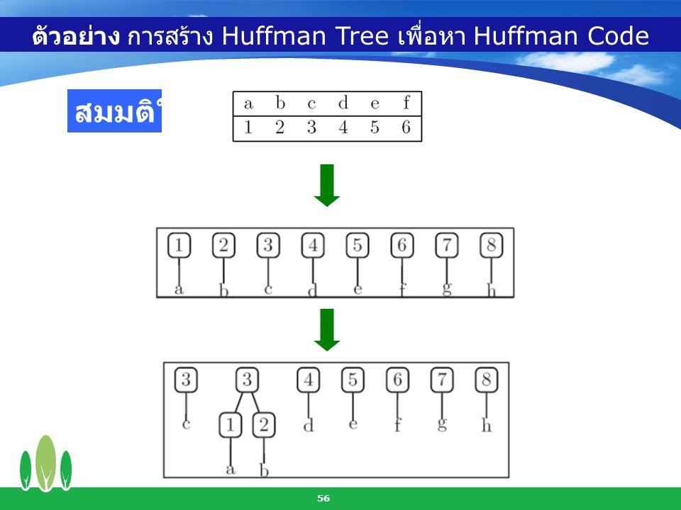 ตัวอย่าง การสร้าง Huffman Tree เพื่อหา Huffman Code
