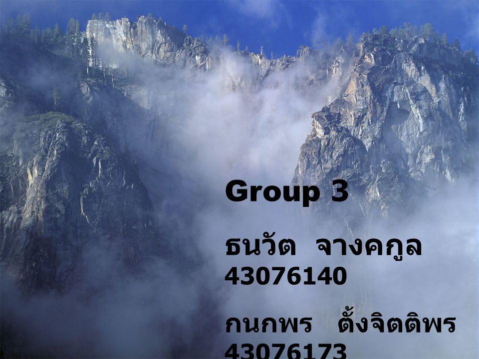 Group 3 ธนวัต จางคกูล 43076140 กนกพร ตั้งจิตติพร 43076173