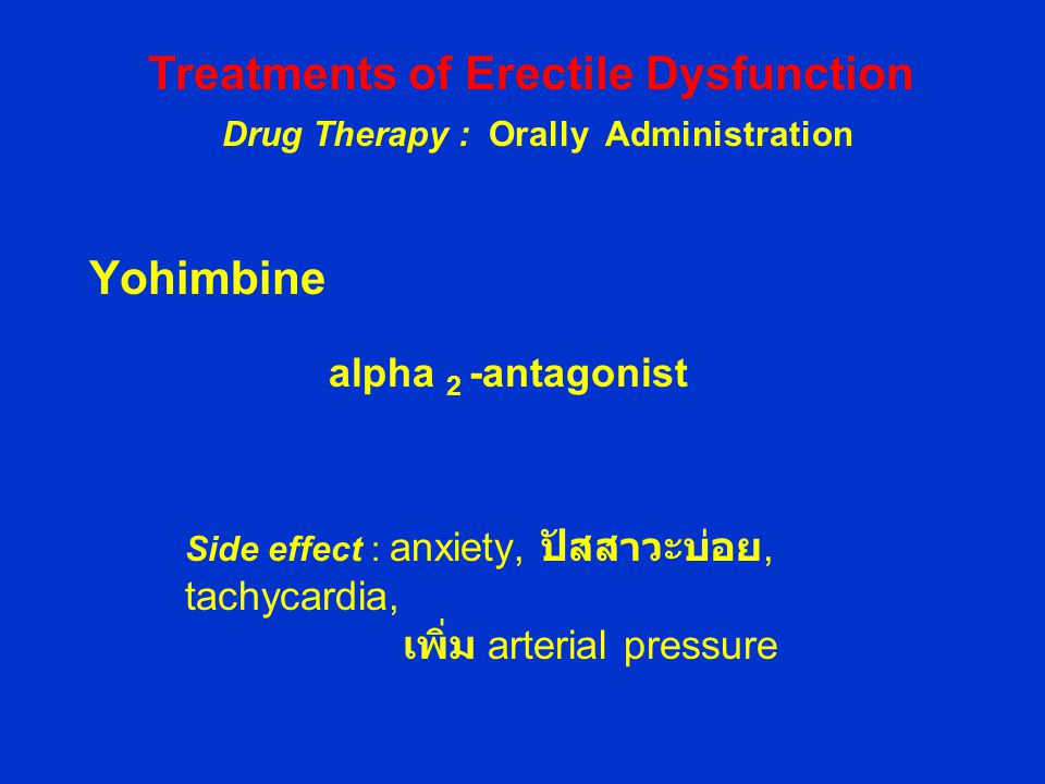 Treatments of Erectile Dysfunction Drug Therapy : Orally Administration