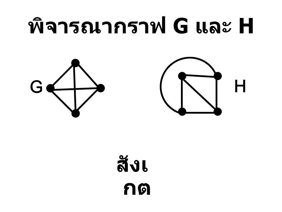 พิจารณากราฟ G และ H สังเกต