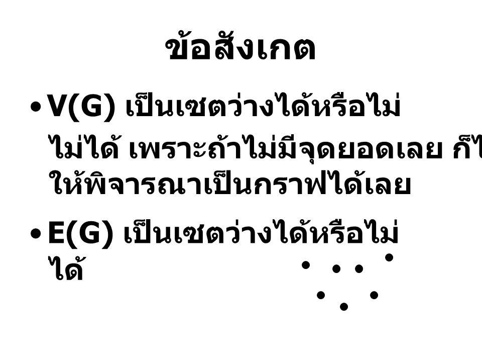 ข้อสังเกต V(G) เป็นเซตว่างได้หรือไม่