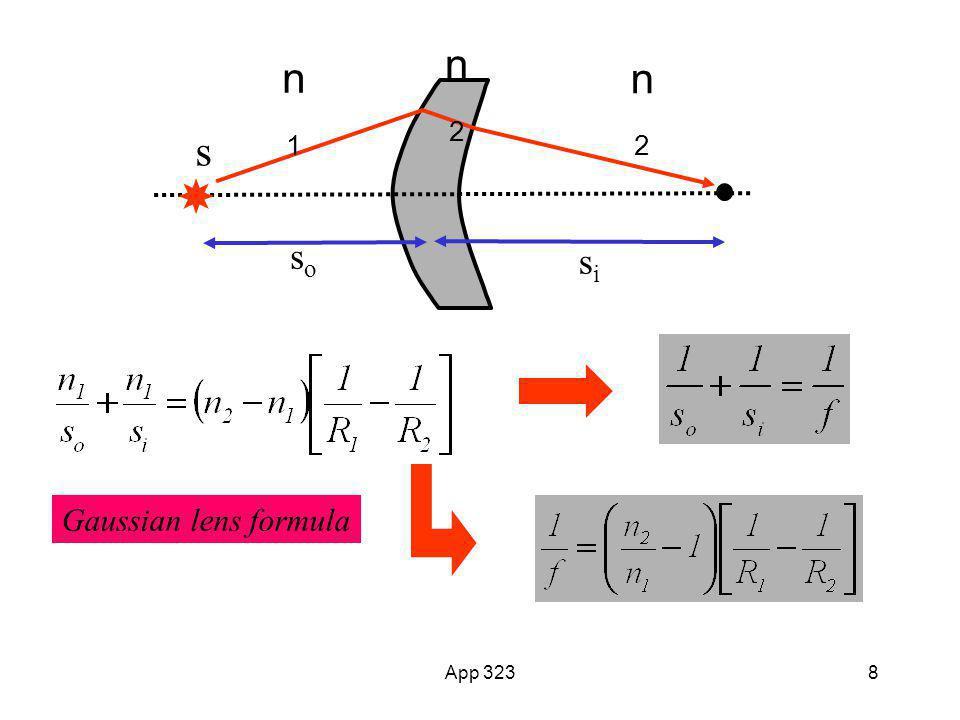 s n1 n2 si so Gaussian lens formula App 323