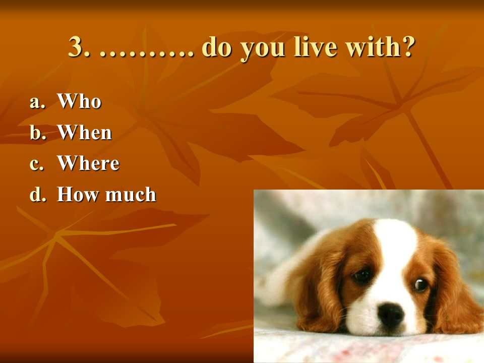 3. ………. do you live with Who When Where How much