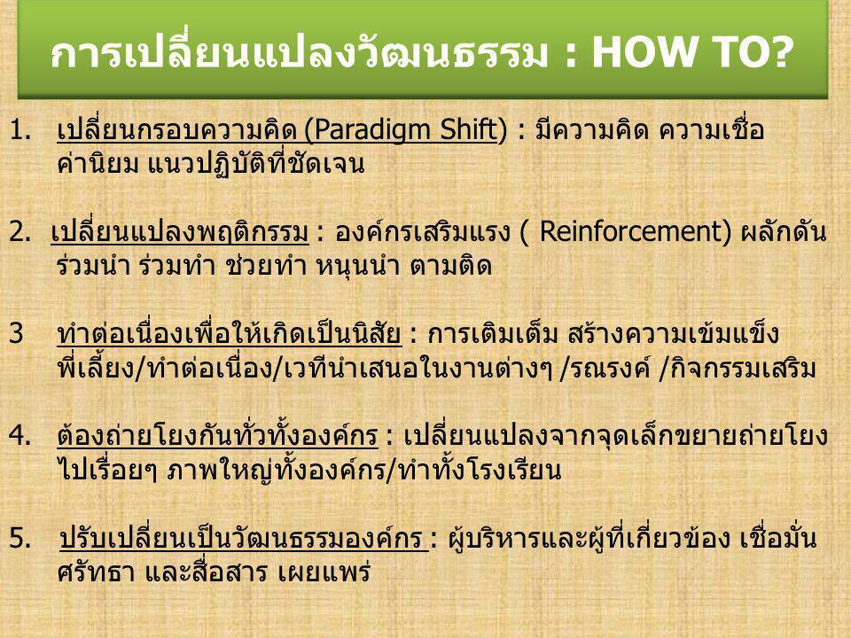 การเปลี่ยนแปลงวัฒนธรรม : HOW TO