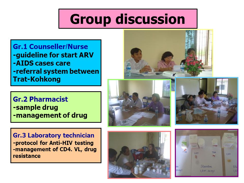 Group discussion Gr.1 Counseller/Nurse -guideline for start ARV