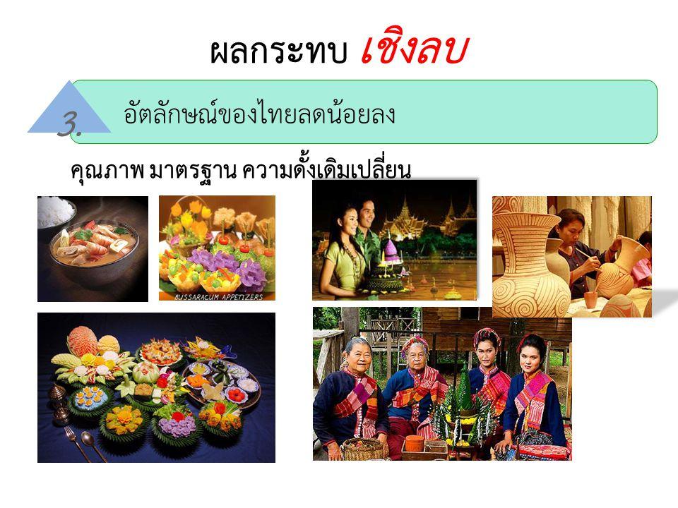 ผลกระทบ เชิงลบ 3. อัตลักษณ์ของไทยลดน้อยลง