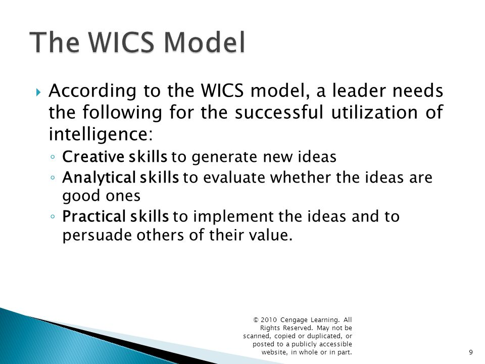 The WICS Model According to the WICS model, a leader needs the following for the successful utilization of intelligence: