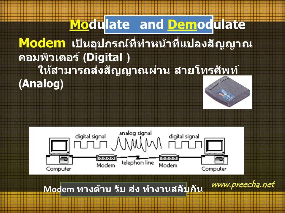 Modulate and Demodulate Modem ทางด้าน รับ ส่ง ทำงานสลับกัน