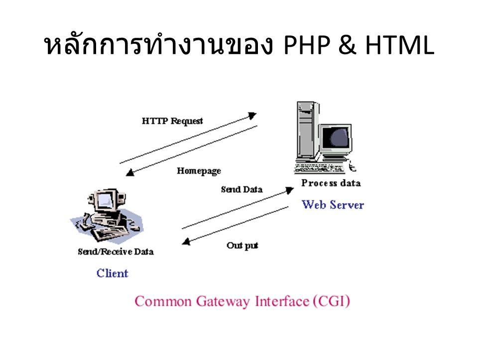 หลักการทำงานของ PHP & HTML