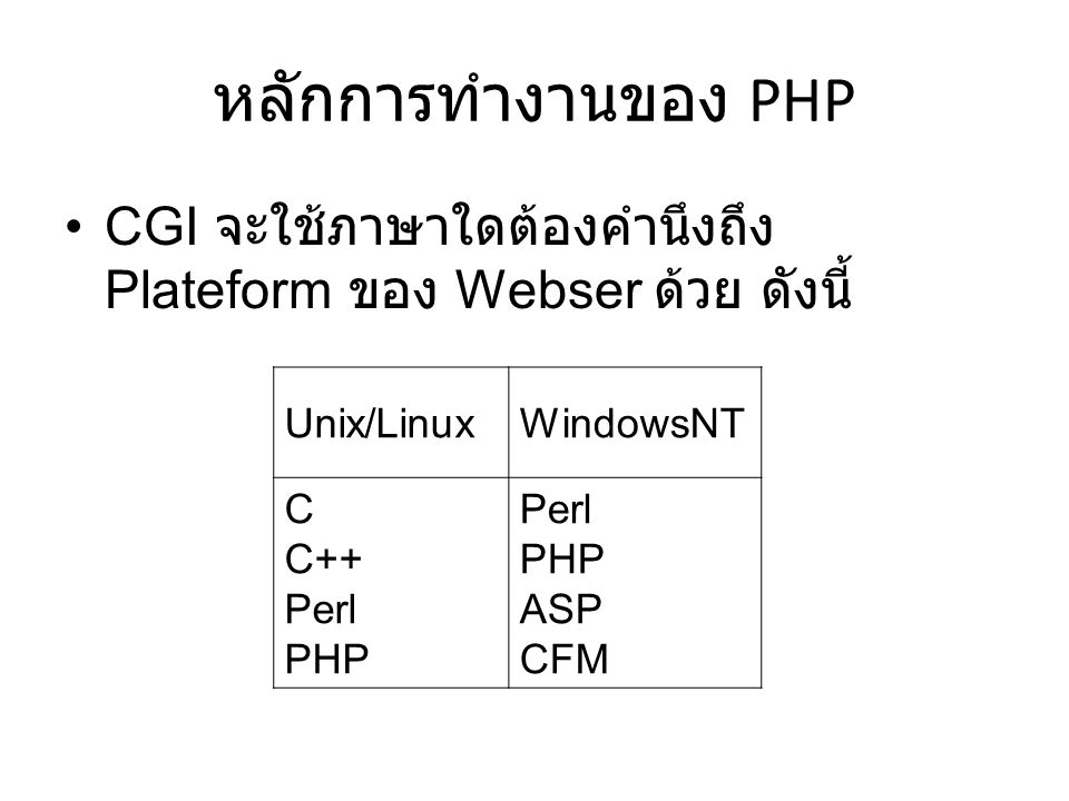 หลักการทำงานของ PHP CGI จะใช้ภาษาใดต้องคำนึงถึง Plateform ของ Webser ด้วย ดังนี้ Unix/Linux. WindowsNT.