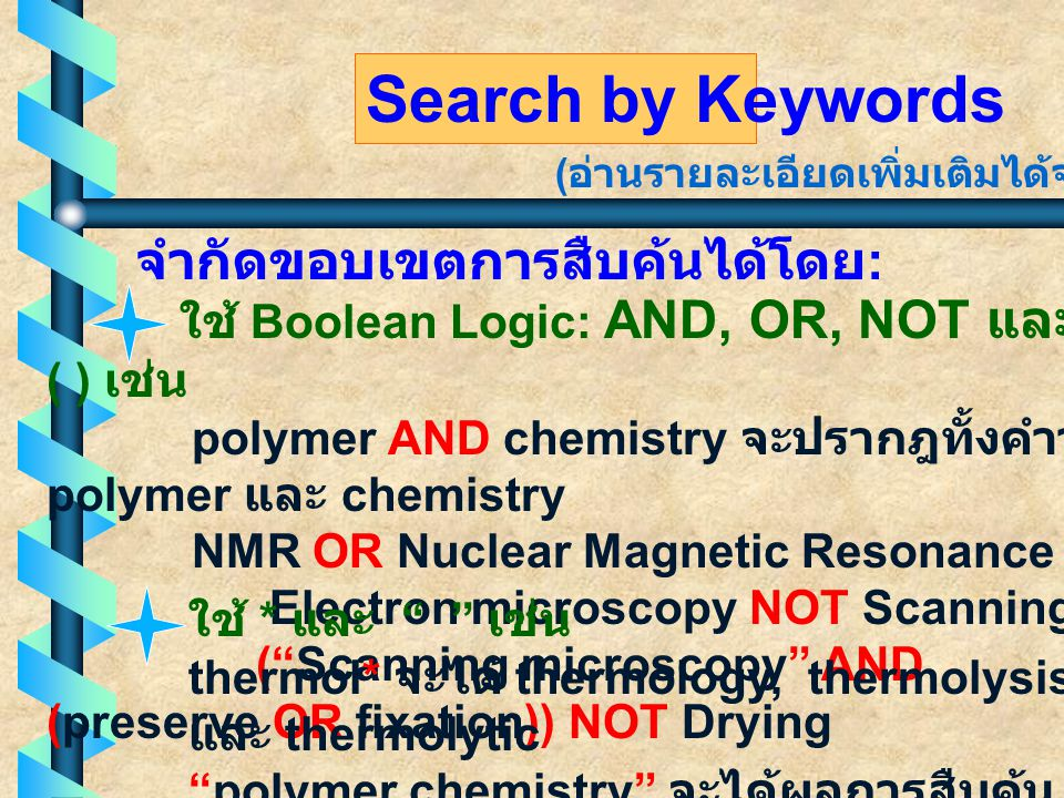 Search by Keywords ใช้ Boolean Logic: AND, OR, NOT และ ( ) เช่น