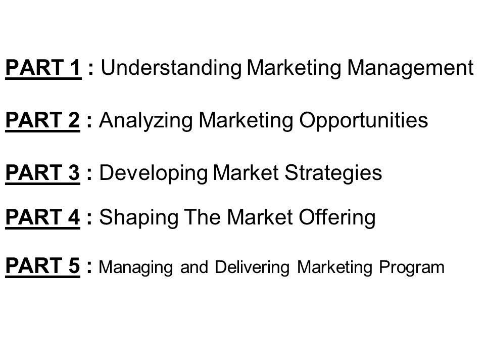 PART 1 : Understanding Marketing Management