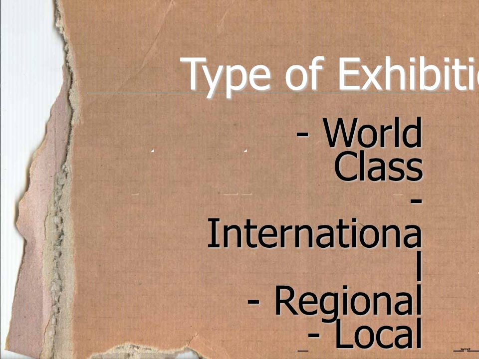 Type of Exhibition World Class International Regional Local