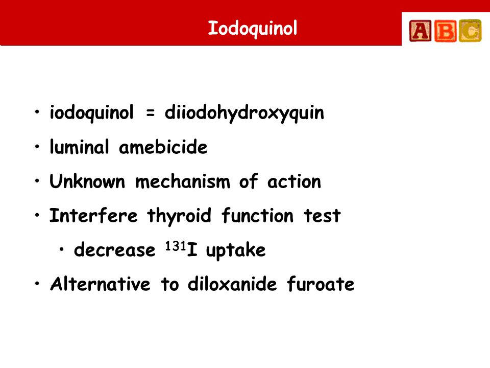 Iodoquinol iodoquinol = diiodohydroxyquin. luminal amebicide. Unknown mechanism of action. Interfere thyroid function test.
