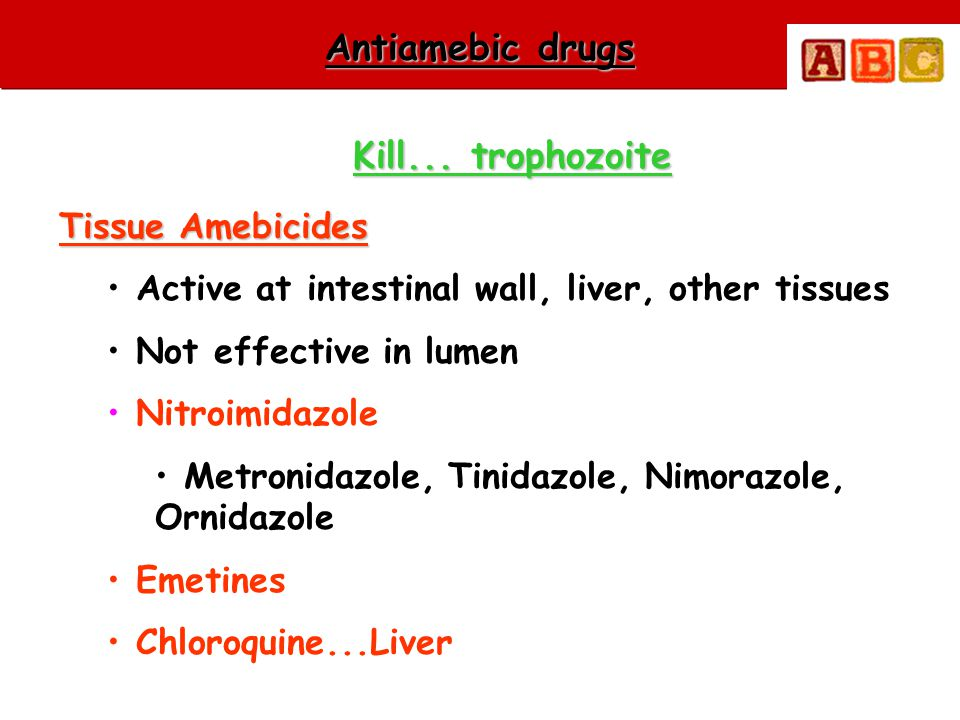 Antiamebic drugs Kill... trophozoite