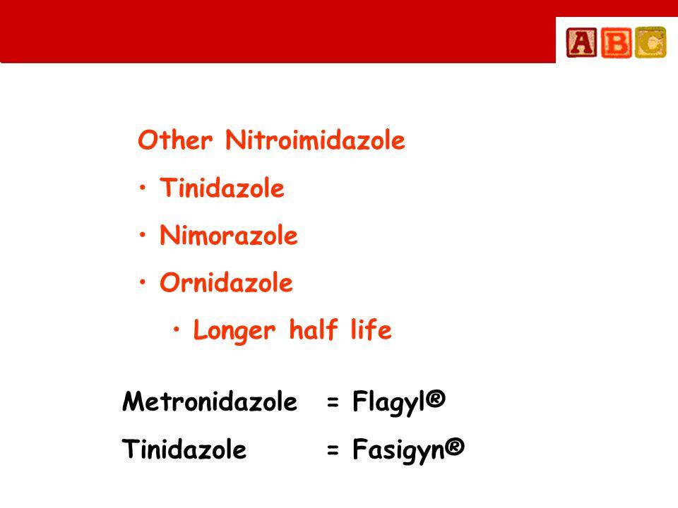 Other Nitroimidazole Tinidazole. Nimorazole. Ornidazole. Longer half life. Metronidazole = Flagyl®