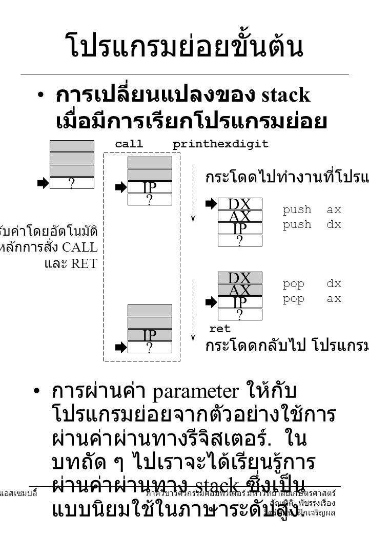 โปรแกรมย่อยขั้นต้น การเปลี่ยนแปลงของ stack เมื่อมีการเรียกโปรแกรมย่อย