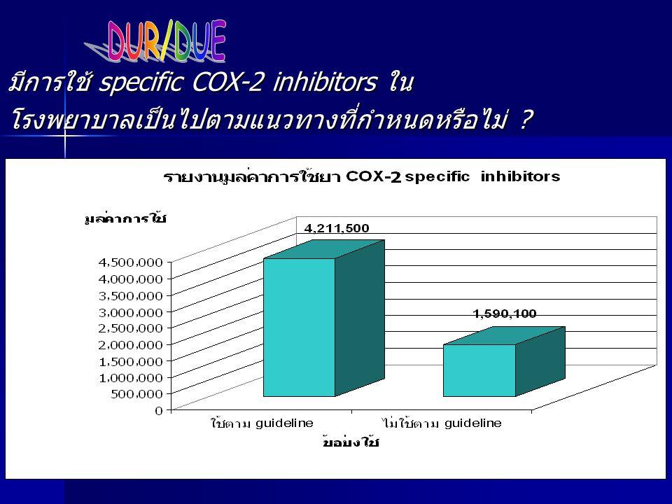 DUR/DUE มีการใช้ specific COX-2 inhibitors ใน