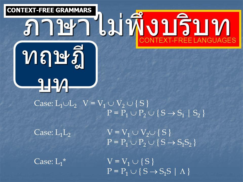 ภาษาไม่พึงบริบท ทฤษฎีบท Case: L1L2 V = V1  V2  { S }