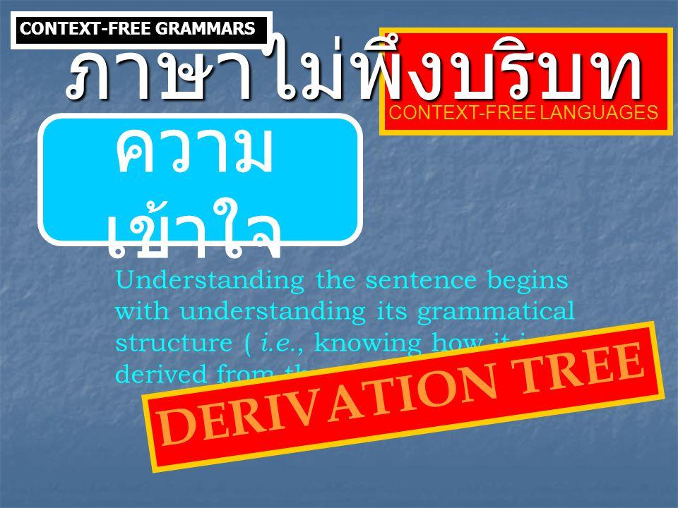 ภาษาไม่พึงบริบท ความเข้าใจ DERIVATION TREE